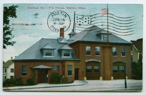 Primary view of object titled '[Postcard of A Fire Station, Maiden, Massachusetts]'.