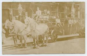 Primary view of object titled '[Postcard with a Photo of Truck Co. 18 of the N. Y. F. D.]'.
