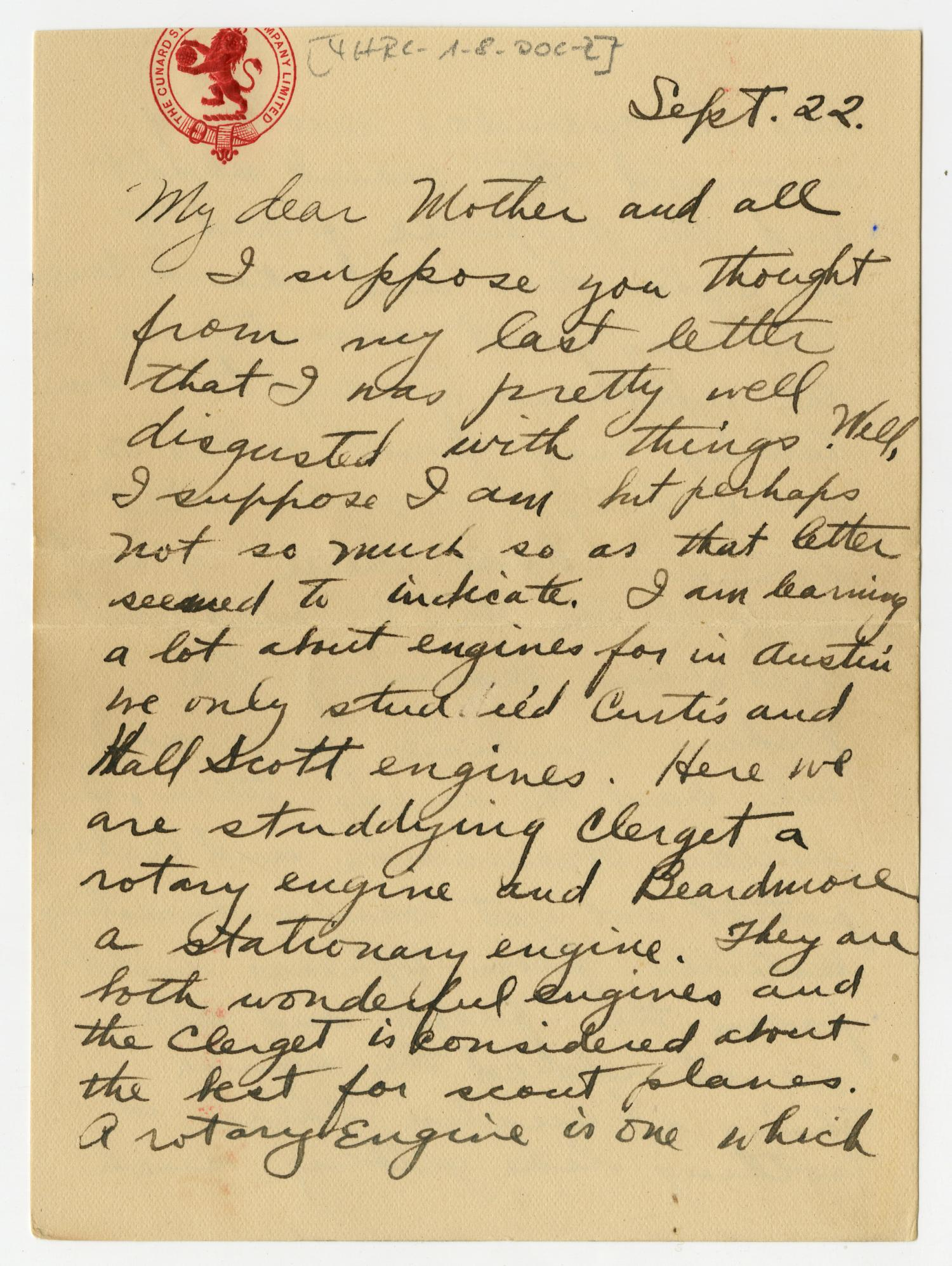 [Letter from Henry Clay, Jr. to his Mother and Family, September 22, 1917]                                                                                                      [Sequence #]: 1 of 10