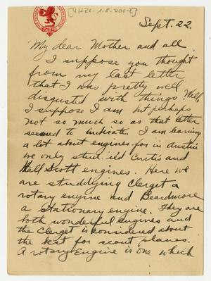 Primary view of object titled '[Letter from Henry Clay, Jr. to his Mother and Family, September 22, 1917]'.