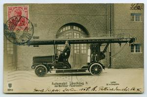 Primary view of object titled '[Postcard of a German Fire Engine]'.