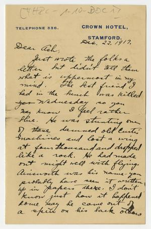 Primary view of object titled '[Letter from Henry Clay, Jr. to his Brother Ashton, December 22, 1917]'.