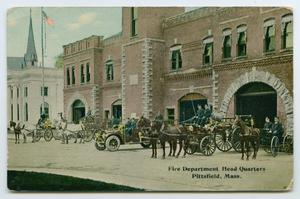 Primary view of object titled '[Postcard of a Fire Station, Pittsfield, Mass.]'.