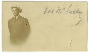 Primary view of object titled '[Postcard of Val McFaddin]'.