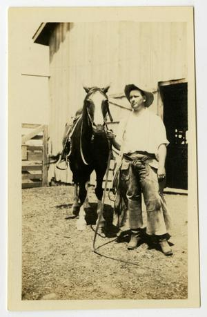 Primary view of object titled '[Photograph of WIlliam Perry Herring McFaddin Jr. and Horse]'.