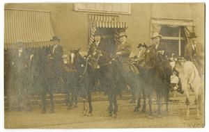 Primary view of object titled '[Postcard of Men on Horses]'.