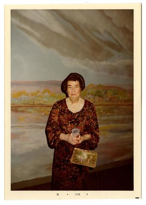 Primary view of object titled '[Photograph of Mamie McFaddin Ward and Mural]'.