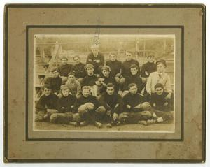 Primary view of object titled '[Photograph of Young Men on Bleachers]'.