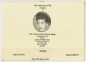 Primary view of object titled '[Funeral Program for Viola Carolin Johnson Avery, July 25, 1994]'.