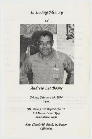 Primary view of object titled '[Funeral Program for Andrew Lee Boone, February 18, 1994]'.