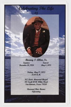 [Funeral Program for Burney T. Allen, May 17, 2013]