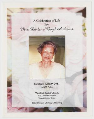 [Funeral Program for Darlene Boyd Andrews, April 9, 2011]