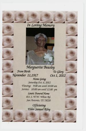 Primary view of object titled '[Funeral Program for Marguerite Beasley, October 6, 2012]'.