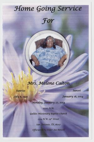Primary view of object titled '[Funeral Program for Melone Calton, January 27, 2014]'.