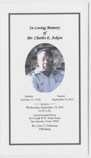 Primary view of object titled '[Funeral Program for Charles E. Askew, September 15, 2010]'.