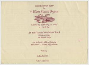Primary view of object titled '[Funeral Program for William Russell Bryant, February 16, 1995]'.