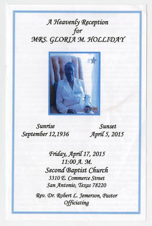 Primary view of object titled '[Funeral Program for Gloria Althea Miller Holliday, April 17, 2015]'.