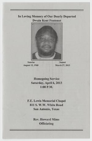 Primary view of object titled '[Funeral Program for Dwain Kent Fontenot, April 6, 2013]'.