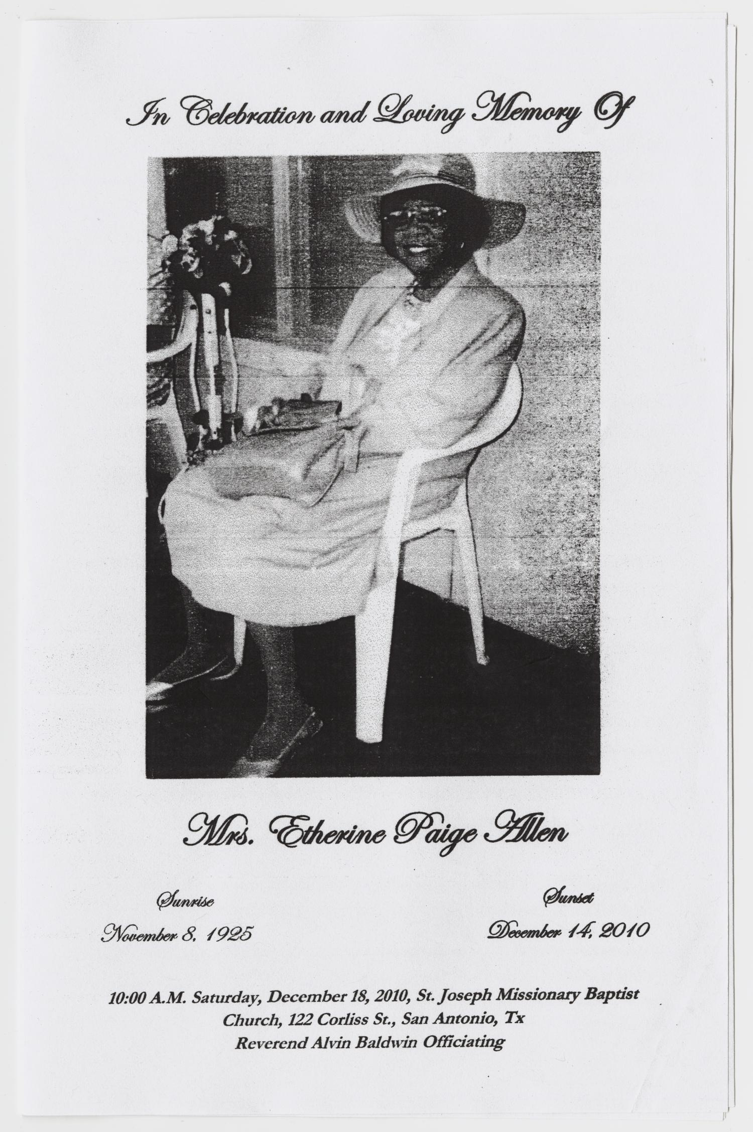[Funeral Program for Etherine Paige Allen, December 18, 2010]                                                                                                      [Sequence #]: 1 of 3