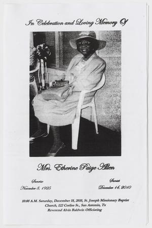Primary view of object titled '[Funeral Program for Etherine Paige Allen, December 18, 2010]'.