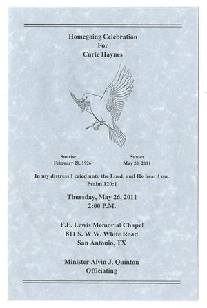 Primary view of object titled '[Funeral Program for Curie Haynes, May 26, 2011]'.