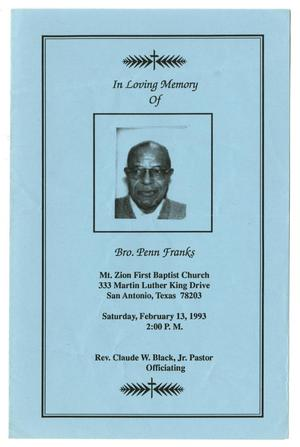 Primary view of object titled '[Funeral Program for Penn Franks, February 13, 1993]'.