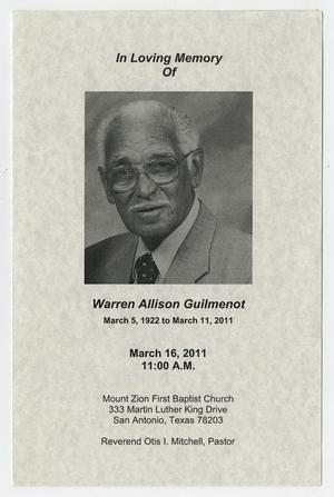 Primary view of object titled '[Funeral Program for Warren Allison Guilmenot, March 16, 2011]'.