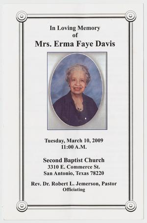 Primary view of object titled '[Funeral Program for Erma Faye Davis, March 10, 2009]'.