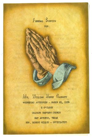 Primary view of object titled '[Funeral Program for William Henry Garrett, March 21, 1984]'.