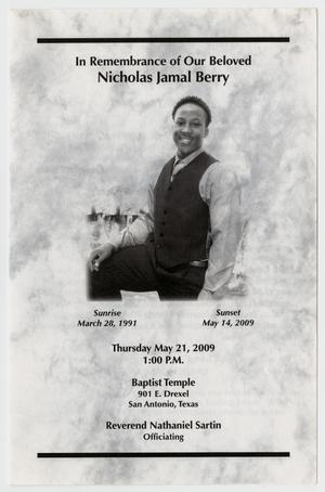 Primary view of object titled '[Funeral Program for Nicholas Jamal Berry, May 21, 2009]'.