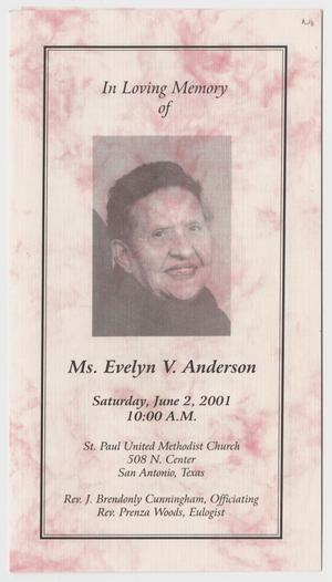 Primary view of object titled '[Funeral Program for Evelyn V. Anderson, June 2, 2001]'.