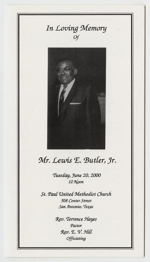 Primary view of object titled '[Funeral Program for Lewis E. Butler, June 20, 2000]'.