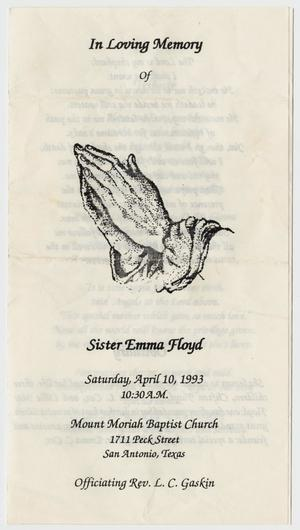 Primary view of object titled '[Funeral Program for Emma Floyd, April 10, 1993]'.