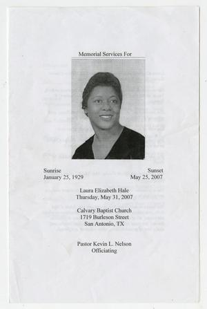 Primary view of object titled '[Funeral Program for Laura Elizabeth Hale, May 13, 2007]'.