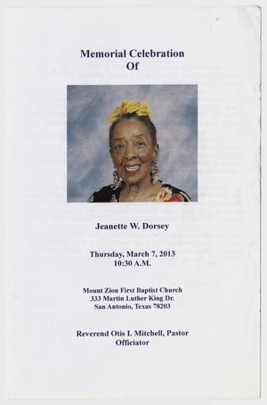 Primary view of object titled '[Funeral Program for Jeanette W. Dorsey, March 7, 2013]'.