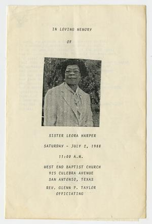 Primary view of object titled '[Funeral Program for Leora Harper, July 2, 1988]'.