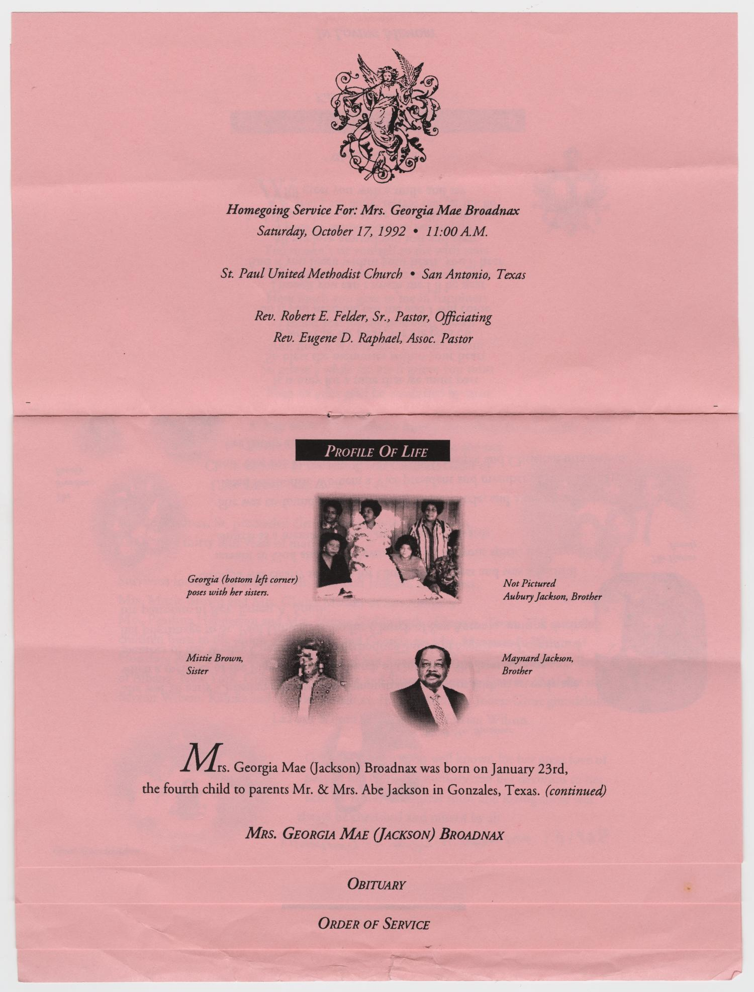 [Funeral Program for Georgia Mae Broadnax, October 17, 1992]                                                                                                      [Sequence #]: 3 of 7