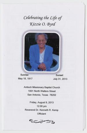 Primary view of object titled '[Funeral Program for Kizzie O. Byrd, August 9, 2013]'.