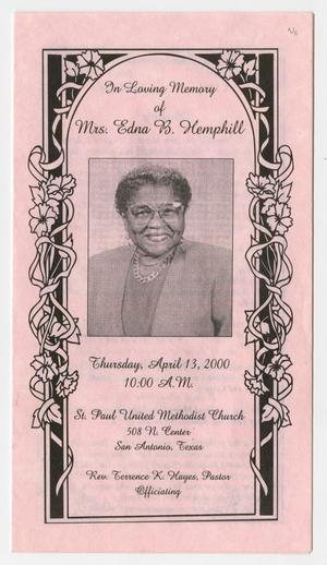 Primary view of object titled '[Funeral Program for Edna Hemphill, April 13, 2000]'.