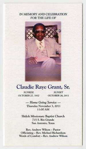 Primary view of object titled '[Funeral Program for Claudie Raye Grant, Sr., November 3, 2011]'.
