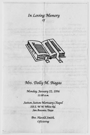 Primary view of object titled '[Funeral Program for Dolly M. Biagas, January 22, 1996]'.