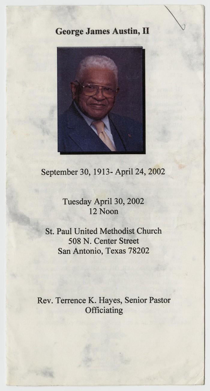 funeral program for george james austin jr april 30 2002 the