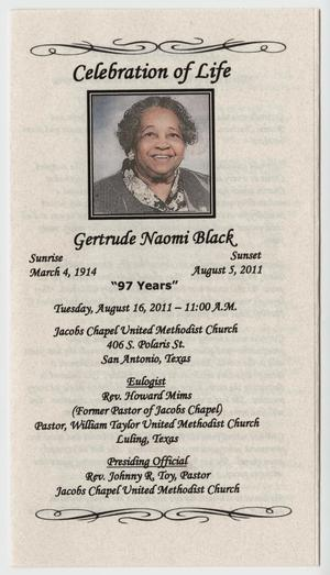 Primary view of object titled '[Funeral Program for Gertrude Naomi Black, August 16, 2011]'.