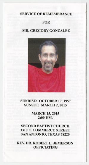 Primary view of object titled '[Funeral Program for Gregory Gonzalez, March 15, 2015]'.