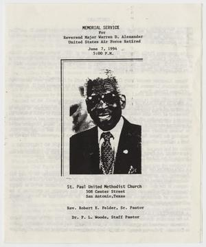 Primary view of object titled '[Funeral Program for Warren D. Alexander, June 7, 1994]'.
