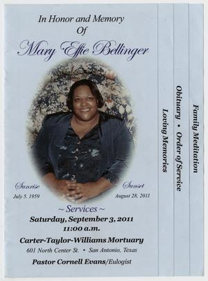 Primary view of object titled '[Funeral Program for Mary Effie Bellinger, September 3, 2011]'.