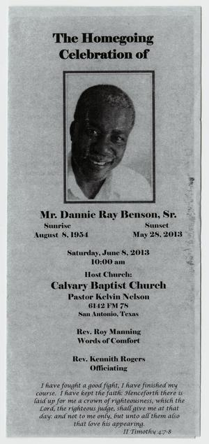 Primary view of object titled '[Funeral Program for Dannie Ray Benson, Sr., June 8, 2013]'.