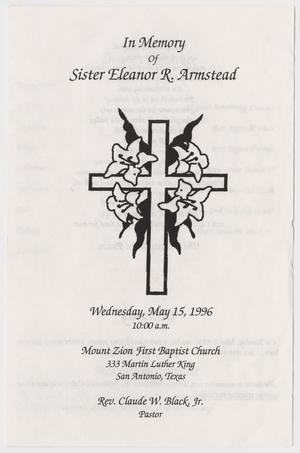 Primary view of object titled '[Funeral Program for Eleanor R. Armstead, May 15, 1996]'.