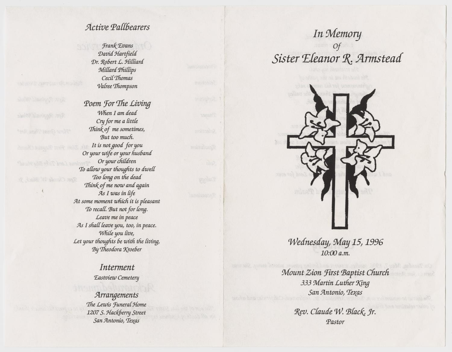 [Funeral Program for Eleanor R. Armstead, May 15, 1996]                                                                                                      [Sequence #]: 3 of 3