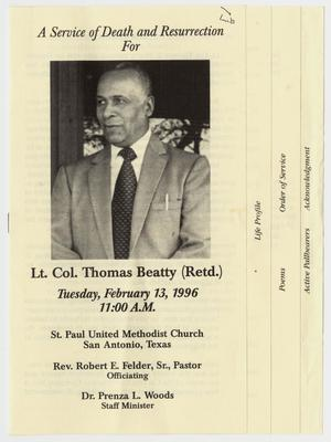 Primary view of object titled '[Funeral Program for Thomas Beatty, February 13, 1996]'.